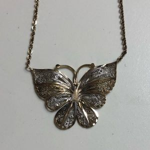🦋 necklace sterling silver w/ gold overlay